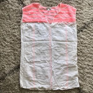 J. Crew pink and white beach/pool cover up